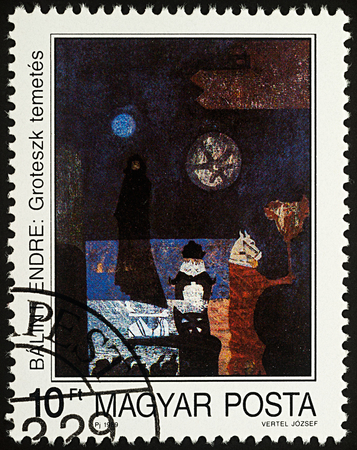 Moscow, Russia - August 05, 2017: A stamp printed in Hungary, shows painting Grotesque Funeral by Endre Balint, series Modern Paintings, circa 1989 Editorial