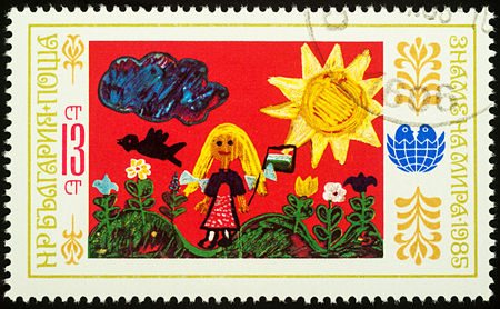 Moscow, Russia - August 03, 2017: A stamp printed in Bulgaria shows childrens drawing of girl in the countryside, series Children`s Drawings, circa 1985 Editorial