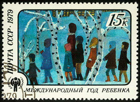 Moscow, Russia - August 04, 2017: A stamp printed in USSR (Russia) shows childrens drawing School excursion in winter, series International year of the child, circa 1979
