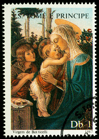 Moscow, Russia - August 17, 2017: A stamp printed in Sao Tome and Principe, shows painting Madonna with Child by Botticelli, series Christmas - Madonna Paintings, circa 1987