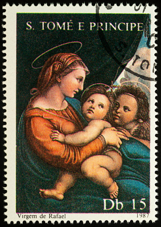 Moscow, Russia - August 17, 2017: A stamp printed in Sao Tome and Principe, shows painting Madonna with Child by Raphael, series Christmas - Madonna Paintings, circa 1987