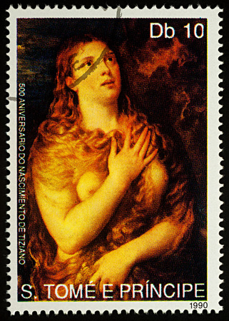 Moscow, Russia - August 24, 2017: A stamp printed in Sao Tome and Principe shows painting Penitent Mary Magdalene by Titian, series Paintings and Anniversaries of Famous Painters, circa 1990