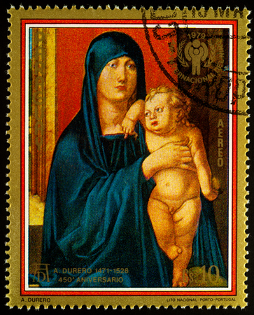 albrecht: Moscow, Russia - August 26, 2017: A stamp printed in Paraguay, shows painting Haller Madonna by Albrecht Durer (1471-1528), series Durer paintings - International Year of the Child, circa 1979