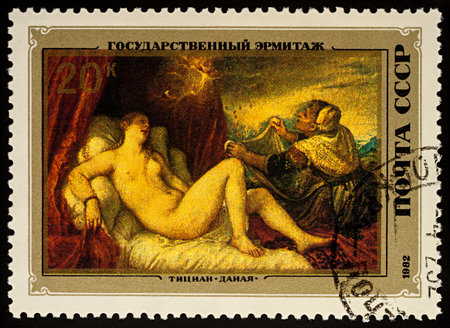Moscow, Russia - August 23, 2017: A stamp printed in USSR (Russia), shows painting Danae by Titian (1488-1576), series Italian Paintings in Hermitage Museum, circa 1982