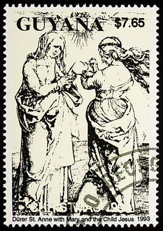 albrecht: Moscow, Russia - August 27, 2017: A stamp printed in Guyana, shows painting St. Anne with Mary and the Child Jesus by Albrecht Durer (1471-1528), series Christmas, circa 1989