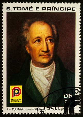Moscow, Russia - September 01, 2017: A stamp printed in Sao Tome and Principe shows portrait of German poet Johann Wolfgang von Goethe (1749-1832), circa 1981 Editorial