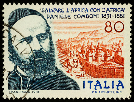 Moscow, Russia - September 11, 2017: A stamp printed in Italy shows portrait of Saint Daniele Comboni, Catholic missionary in Africa, dedicated to the 150th Anniversary of the Birth, circa 1981 Editorial