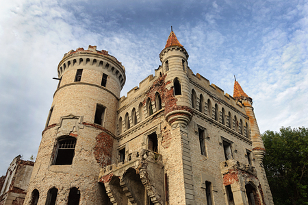 Ruins of neo-gothic castle Khrapovitsky in Muromtsevo, Vladimir region, Russia Editorial