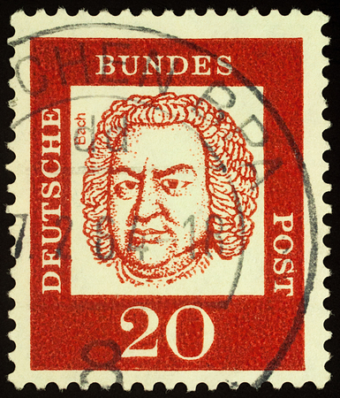 Moscow, Russia - November 03, 2017: A stamp printed in Germany shows portrait of composer Johann Sebastian Bach (1685-1750), series Distinguished Germans, circa 1961 Editorial