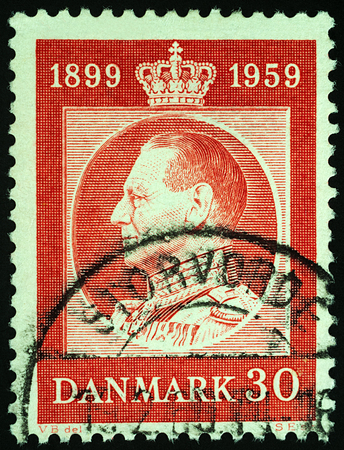 Moscow, Russia - November 03, 2017: A stamp printed in Denmark shows Danish King Frederick IX (1899-1972), series The 60th Anniversary of the Birth of King Frederick IX, circa 1959 Editorial