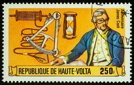 Moscow, Russia - November 08, 2017: A stamp printed in Upper Volta shows Captain James Cook, series The 250th Anniversary of the Birth of James Cook, 1728-1779, circa 1978