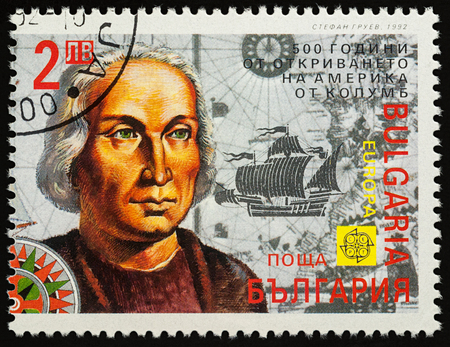 Moscow, Russia - November 10, 2017: A stamp printed in Bulgaria shows Christopher Columbus, series 500th anniversary of the discovery of America, circa 1992