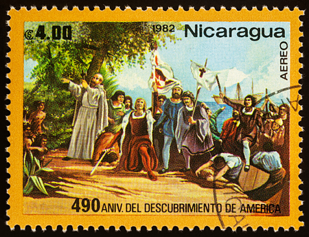 Moscow, Russia - November 09, 2017: A stamp printed in Nicaragua shows Landing of Columbus in West-Indies in 1492, series The 490th Anniversary of Discovery of America, circa 1982