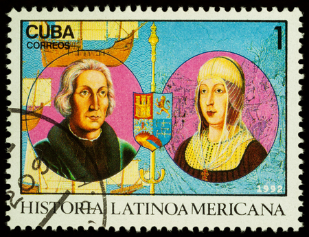 Moscow, Russia - November 15, 2017: A stamp printed in Cuba shows portraits of Columbus and Queen Isabella of Spain, series Latin american history, circa 1992