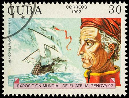 Moscow, Russia - November 13, 2017: A stamp printed in Cuba shows Amerigo Vespucci (1454-1512), Italian explorer, navigator and cartographer, series Explorers and their Ships, circa 1992