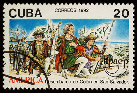 Moscow, Russia - November 14, 2017: A stamp printed in Cuba shows Columbuss landing at San Salvador in 1492, series The 500th Anniversary of the Discovery of America by Columbus, circa 1992