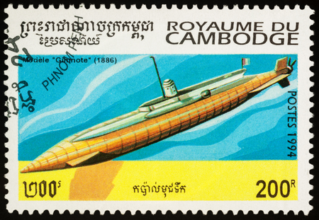 Moscow, Russia - November 19, 2017: A stamp printed in Cambodia shows old French submarine Gimnote (1886), series Submarines, circa 1994 Editorial