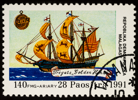 Moscow, Russia - November 19, 2017: A stamp printed in Madagascar shows sailing ship, frigate
