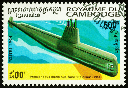 Moscow, Russia - November 19, 2017: A stamp printed in Cambodia shows the first American nuclear-powered submarine Nautilus (1954), series