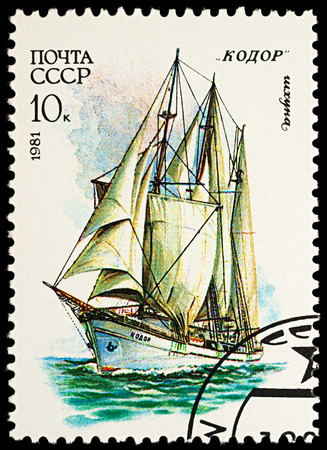 Moscow, Russia - November 22, 2017: A stamp printed in USSR (Russia) shows three-masted schooner Kodor (1951), series Cadet Sailing Ships, circa 1981 Editorial