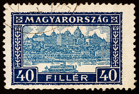 Moscow, Russia - November 26, 2017: A stamp printed in Hungary shows Buda Castle Royal Palace, residence of the Hungarian kings in Budapest, Hungary, series Palace of Buda, circa 1926