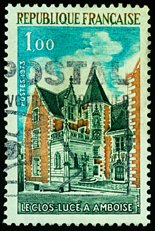 Moscow, Russia - November 29, 2017: A stamp printed in France shows Chateau du Clos Luce in Amboise, France, series Tourism, circa 1973 Editorial