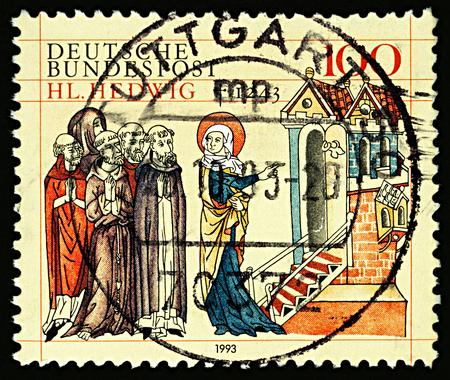 ドイツで印刷されたスタンプが、750 の死記念日の聖ヘドウィグ · ハイドリッヒ (シレジアの聖ヤドヴィガ)、1993 年頃に捧げ、聖のヘドウィグ