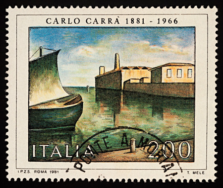 Moscow, Russia - December 03, 2017: A stamp printed in Italy shows picture of harbor in early morning by Carlo Carra (1881-1966), series Italian Artists, circa 1981