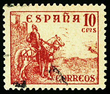 Moscow, Russia - December 15, 2017: A stamp printed in Spain, shows equestrian portrait of El Cid - Castilian nobleman and military leader, national hero in medieval Spain, circa 1937 Editorial
