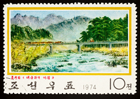 Moscow, Russia - December 16, 2017: A stamp printed in DPRK (North Korea), shows picture Bridge in Mt. Kumgang, series Contemporary Paintings, circa 1974