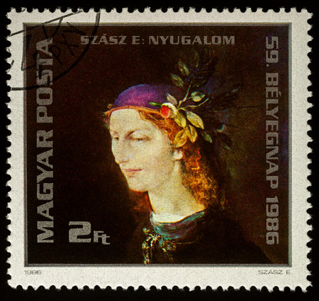 Moscow, Russia - December 18, 2017: A stamp printed in Hungary shows painting Tranquility by Hungarian artist Endre Szasz (1926-2003), circa 1986