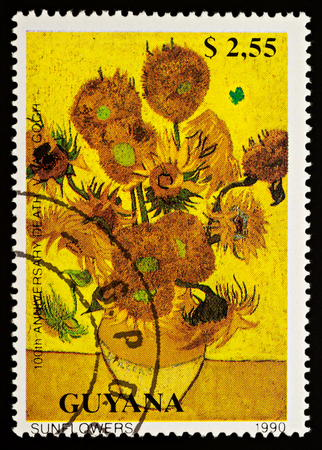 Moscow, Russia - December 22, 2017: A stamp printed in Guyana, shows painting
