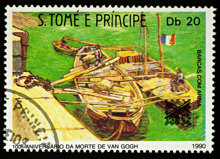 Moscow, Russia - December 22, 2017: A stamp printed in Sao Tome and Principe, shows painting Barges on the Rhone River (1888) by Vincent Van Gogh (1853-1890), series Paintings, circa 1990