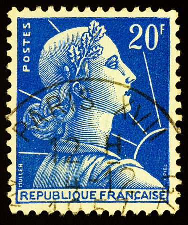 Moscow, Russia - December 28, 2017: A stamp printed in France, shows Marianne by Louis-Charles Muller, circa 1957 Editorial