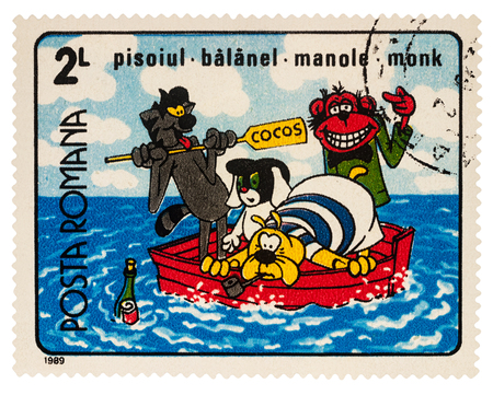 Moscow, Russia - Januarry 16, 2018: A stamp printed in Romania, shows frame from Cartoon film Who laughs last, series Romanian Cartoons, circa 1989