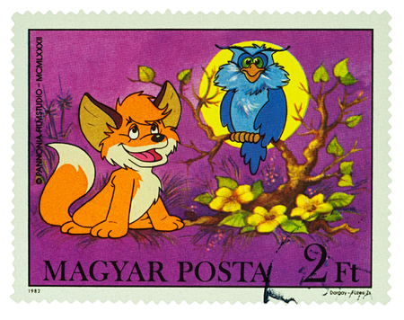 Moscow, Russia - January 16, 2018: A stamp printed in Hungary shows Owl and little fox, series Cartoons - Vuk, the Little Fox, circa 1982