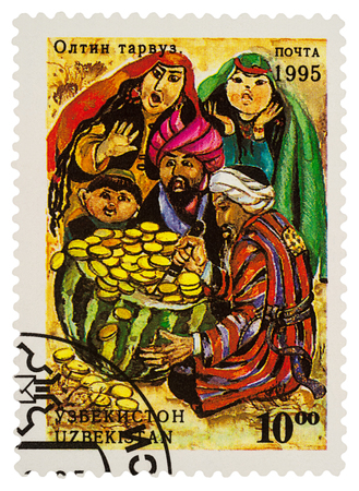 Moscow, Russia - January 15, 2018: A stamp printed in Uzbekistan shows scene from fairy tale The golden melon, series Folk Tales, circa 1995