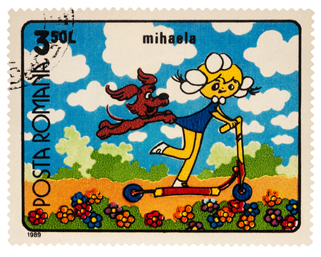 Moscow, Russia - January 15, 2018: A stamp printed in Romania, shows frame from Cartoon film Mihaela, series Romanian Cartoons, circa 1989 Editorial