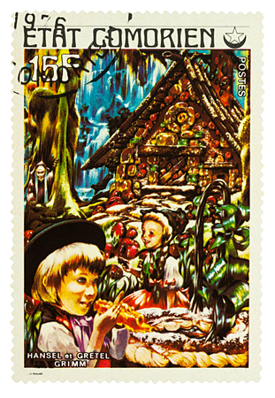Moscow, Russia - January 17, 2018: A stamp printed in Comoros shows scene from a fairy tale Hansel and Gretel, series Childrens Book, circa 1976 Editöryel