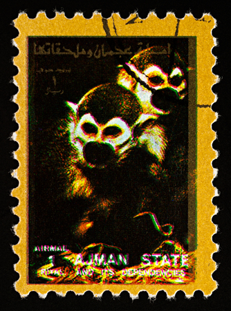 Moscow, Russia - February 02, 2018: A stamp printed in Ajman shows two monkeys, series Animals - Mammals, circa 1973