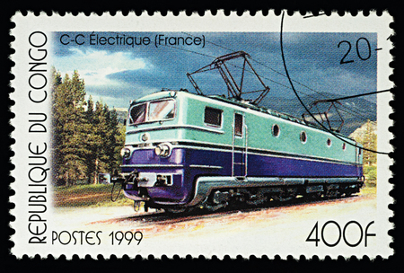 Moscow, Russia - February 07, 2018: A stamp printed in Congo, shows C-C Electrolocomotive (France), series