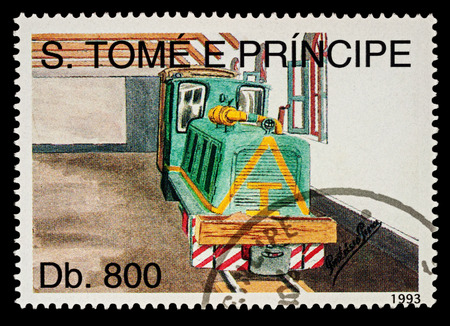 Moscow, Russia - February 09, 2018: A stamp printed in Sao Tome and Principe, shows picture of small diesel locomotive in depot, series