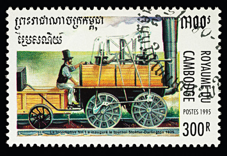 Moscow, Russia - February 11, 2018: A stamp printed in Cambodia, shows George Stephensons Locomotive N°1 Locomotion on the route Stockton-Darlington (1825), series Steam Locomotives, circa 1995 Editorial