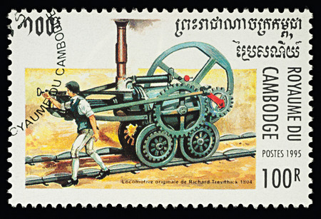 Moscow, Russia - February 11, 2018: A stamp printed in Cambodia, shows First railway steam locomotive by Richard Trevithick (1804), series Steam Locomotives, circa 1995