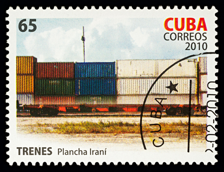Moscow, Russia - Febuary 20, 2018: A stamp printed in Cuba, shows railway coaches with containers, series