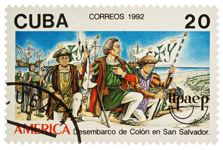 Moscow, Russia - March 05, 2018: A stamp printed in Cuba shows Columbuss landing at San Salvador in 1492, series The 500th Anniversary of the Discovery of America by Columbus, circa 1992