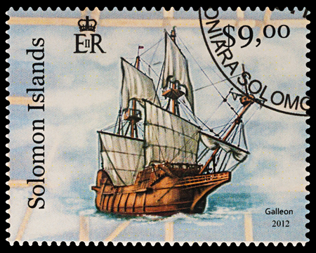 Moscow, Russia - March 04, 2018: A stamp printed in Solomon Islands shows ancient sailing ship - galleon, series