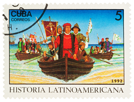 Moscow, Russia - March 05, 2018: A stamp printed in Cuba shows Christopher Columbus and  his crew in boats landing in New World in 1492, series Latin american history, circa 1992 Editorial