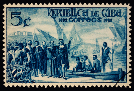 Moscow, Russia - March 05, 2018: A stamp printed in Cuba shows Christopher Columbuss and his crew, 1492, circa 1936