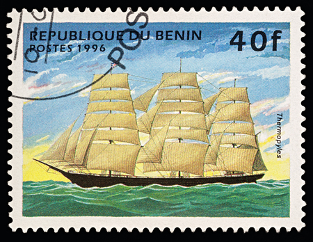 Moscow, Russia - March 03, 2018: A stamp printed in Benin shows ancient sailing ship (Clipper) Thermopylae, series Ships, circa 1996